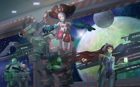 Картинка космос, девушки, планеты, корабль, роботы
