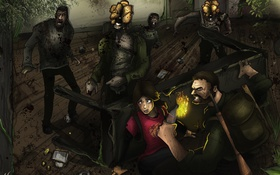 Обои арт, зомби, Элли, The Last of Us, Джоэл, Последние из нас