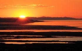 Обои пейзаж, закат, озеро, Sunset, the Great Salt Lake