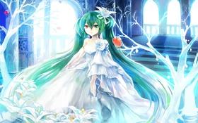 Картинка девушка, деревья, цветы, яблоки, аниме, арт, Hatsune Miku