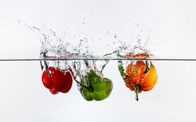 Обои вода, брызги, пузырьки, еда, всплеск, воздух, перец