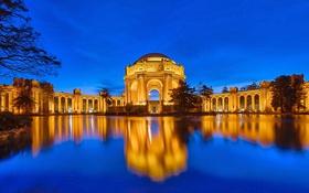 Обои небо, ночь, огни, Сан-Франциско, США, архитектура, водоем