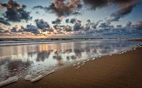 Обои тучи, Шлезвиг-Гольштейн, природа, Германия, люди, песок, море