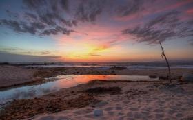 Обои beach, ocean, sunset, cloud, mountain
