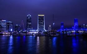 Обои небо, ночь, мост, река, здание, небоскреб, Флорида