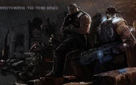 Обои ночь, дождь, солдаты, ожидание, gears of war 3, Augustus Cole, Marcus Michael
