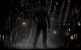 Обои город, дождь, мужчина, GTA IV