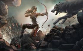 Обои девушка, арт, волки, Tomb Raider