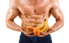 Обои fruits, eating, bodybuilder