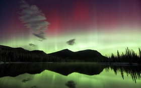 Картинка небо, звезды, пейзаж, горы, северное сияние