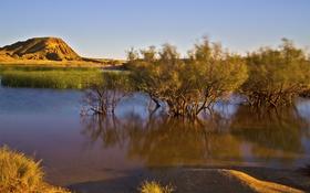 Картинка река, деревья, рассвет, горы, небо, озеро