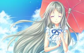 Обои девушка, улыбка, ветер, зонт, art, невиданный цветок, honma meiko