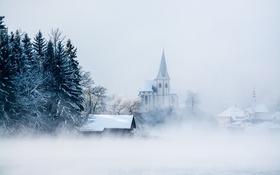 Обои austria, snow, fog, carinthia, maria wörth