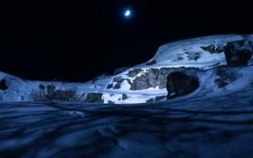 Картинка снег, ночь, камни, луна