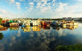 Обои плавучие дома, Виктория, Британская Колумбия, Канада, пристань Рыбака