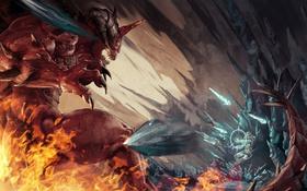 Обои бой, демон, маг, битва, Diablo, Jaina Proudmoore, Lord of Terror