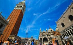 Обои люди, Италия, Венеция, дворец дожей, пьяцетта, кампанила, собор Святого Марка