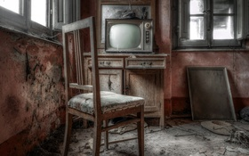 Обои комната, стул, телевизор