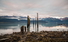 Картинка берег, Alaska, природа, горы, снег, Seward, озеро