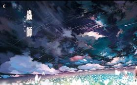 Картинка поле, облака, цветы, луна, арт, звездопад