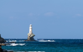 Обои waves, sky, sea, rocks, lighthouse, sunny, troubled sea