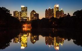 Обои ночь, город, озеро, парк, Midtown, Atlanta, Piedmont Park
