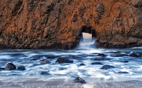 Картинка море, волны, скала, камни, проход, арка