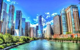 Обои Река, Лето, Чикаго, Небоскребы, Здания, Америка, Chicago