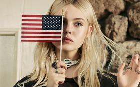 Обои модель, фотосессия, Elle Fanning, Olivia Malone, Эль Фаннинг, флажок, американский