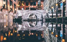 Картинка отражение, здания, зеркало, Канада, фонтан, Монреаль, фонарные столбы