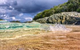 Обои капли, камни, пляж, вода, деревья