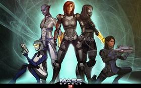 Обои Mass Effect, Shepard, Ashley Williams, EDI, Tali, Liara T'Soni, Tali'Zorah