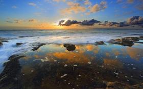 Обои небо, облака, закат, океан