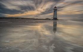 Картинка море, маяк, вечер