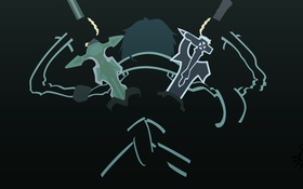 Картинка Минимализм, Art, Anime, Online, Sword Art Online, Sword, Кирито