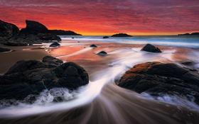 Обои волны, пляж, закат, красный, камни, Калифорния, Сан-Франциско