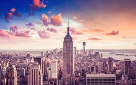 Обои облака, закат, небоскреб, Нью Йорк, NYC