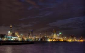 Обои city, огни, небоскребы, вечер, USA, америка, чикаго