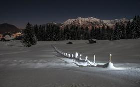 Обои снег, горы, ночь