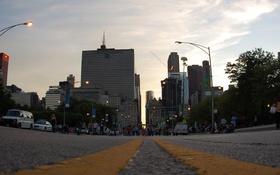 Обои дорога, здания, трасса, небоскребы, USA, америка, чикаго