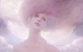 Картинка взгляд, крылья, ангел, арт, нарисованная девушка