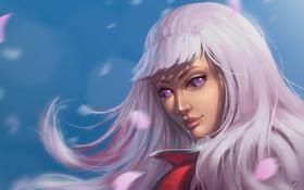 Обои красота, взгляд, арт, aiko, лицо, волосы, девушка