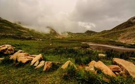 Обои трава, облака, горы, камни, Франция, Альпы, Alpes