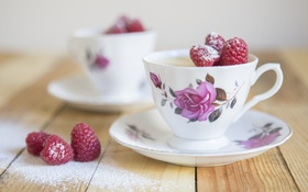 Обои tea, table, cups, raspberries, saucers