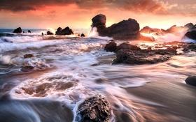 Картинка море, волны, скалы, закат