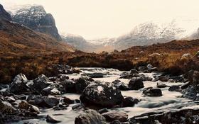 Обои зима, горы, туман, река, камни, водопады, долины