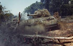 Обои деревья, пыль, танк, танки, WoT, Мир танков, tank