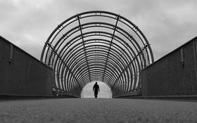 Обои спина, мужчина, арки, дождливый