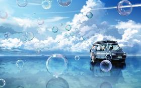 Картинка машина, небо, вода, облака, отражение, пузыри, аниме