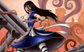 Обои город, кровь, игра, Алиса, нож, Alice Madness Returns